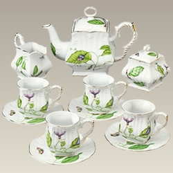 French Country Porcelain Nature and Foliage Tea Set