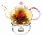Glass Juliet Teapot with Warmer Set