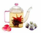 Glass Teapot with 4 Flowering Tea Blooms Gift Set