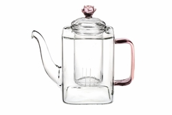 Glass Teapot with Rose Lid