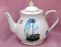 "Inspirational Lighthouse Teapot - ""In Your Light We See the Light"""