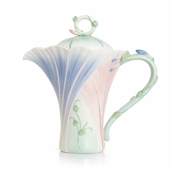 Les Jardin Morning Glory Flower Porcelain Teapot by Franz
