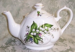 Lily of the Valley Bone China Fluted Teapot