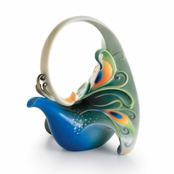 """Luminescence"" Peacock Porcelain Teapot by Franz"
