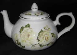 Misty White Bone China Teapot