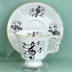 Music Notes Cup and Saucer - Set of 2