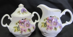 Pansy Bone China Creamer and Sugar Set