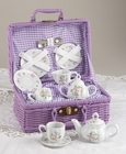 Purple Dainty Floral  Tea Set for 2