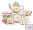 Pink Floral Kids Teaset with Storage Case - Service for 4