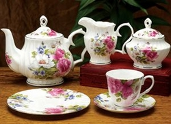 Pink Rose Bone China Tea Service for 4 - 11 Piece Set