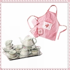 Pink Rosette Children's Tea Set with Mia Apron Set