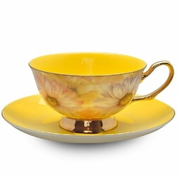 Real Yellow Chintz Cup and Saucer with Gift Box