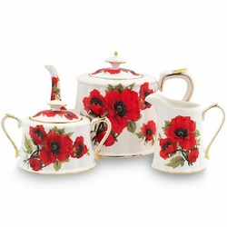 Red Poppy 9 Piece Porcelain Tea Set -  9 Piece -
