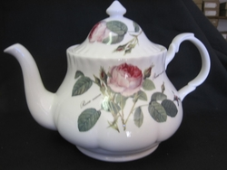 Redoute Rose Bone China Teapot by Roy Kirkham - Minor Small Defects