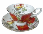 Rose and Poppy Tea Cups - Set of 4
