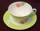 Rose Orange Teacup and Saucer Set - Set of 4