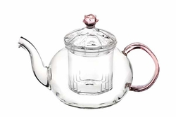 Rosy Glass Teapot - 20 Ounce Capacity