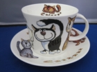 Roy Kirkham Catz Breakfast Cup and Saucer - set of 2 - SALE LIMITED QUANTITIES