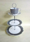 Scalloped Navy 3 Tier Cake Stand with Tea Cup Topper
