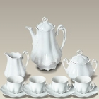 Scrolled White Tea Set for 4
