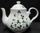 Shamrock Swirled English Bone China Teapot - 4 Cups