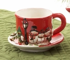 Caroling Snowman Teacup and Saucer - 2 Sets