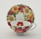 Spicy Poppy Tea Cups and Saucers  - Set of 4