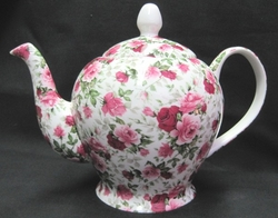 Summertime Pink Chintz Teapot - Made in England