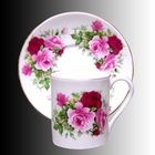 Summertime Rose Bone China Demitasse Cups and Saucers - Set of 4