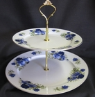 Summertime Blue Fine Bone China- 2 Tier Cake Stand
