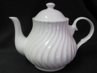 Swirled White Bone China Teapot - 4 Cups