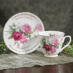 """Think of Me"" Valentine Tea Cup and Saucer"