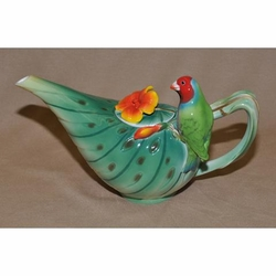 Tropical Parrot Porcelain Teapot
