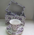 Violet Chintz Tea Cup and Saucer with Gift Box - Set of 2