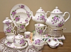 """Violets"" Bone China Gift Set - Service for 4"