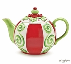 Whimsical Christmas Holly Teapot