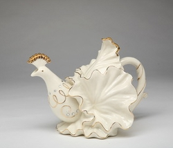 White Peacock Porcelain Teapot