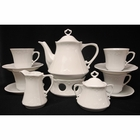 White Scrolled Tea Set with Warmer - for 4