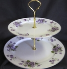 Wild Violets Fine Bone China - 2 Tier Dessert Stand