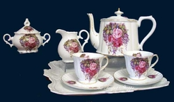Wisteria Gardens Porcelain Tea Set for Two.
