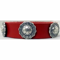 0222 Red Full Grain Genuine Italian Saddle Leather Wristband with Flower Concho Accents