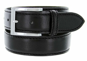 S029 Men's Italian Leather Dress Casual Belt Made in Italy - Nero (Black)