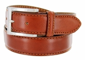 S029 Men's Italian Leather Dress Casual Belt Made in Italy - Marrone (Brown)