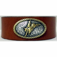 0401 Tan Full Grain Genuine Italian Saddle Leather Wristband with Rodeo Motif