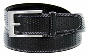 "Men's Perforated Leather Dress Golf Belt 1-1/4"" wide"