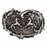 Twin Dragons Heart Belt Buckle