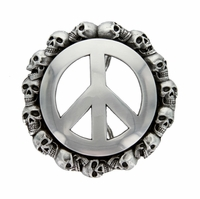 Peace Sign Skull Belt Buckle Belt Buckle