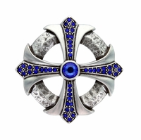 Capri Blue Rhinestone Cross Celtic Belt Buckle