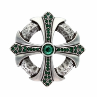 Fern Green Rhinestone Cross Celtic Belt Buckle
