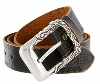 "100403 Men's Antique Silver Engraved Genuine Full Leather Belt 1-1/2"" Wide"
